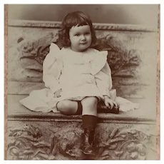 Cabinet Card - Sweet Dark Haired Victorian Girl With Button Boots