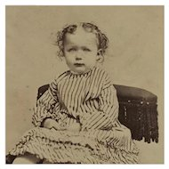 CDV- Victorian Curly Haired Girl In Striped Dress