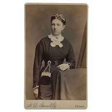 CDV- Victorian Woman With Chatelaine Purse Attached To Waist