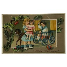 Happy Children With Christmas Toy Pony Cart And Doll Postcard