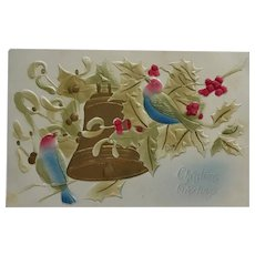 Delicate Birds And Christmas Bell- Airbrushed Postcard