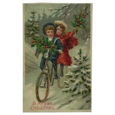 Christmas Bicycle With Happy Children Riding Postcard