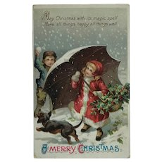 Christmas Snow With Kids And Dog- Unsigned Clapsaddle