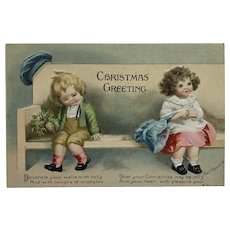 Shy Little Boy And Girl With Christmas Wishes- Clapsaddle