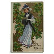 Holly Lady With Christmas Greeting Postcard