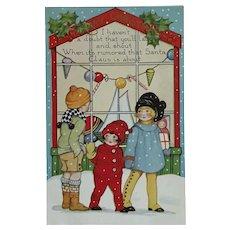Excited Christmas Kids Postcard With Santa Christmas Sticker