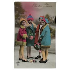 Tinted Children  With Christmas Bouquets  Postcard