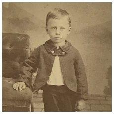 CDV- Darling Victorian Boy With Button Collar