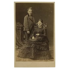 CDV- Victorian Mother In Elegant Dress With Son
