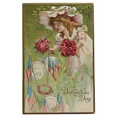 Little Beauty With Flowers For Decoration Day