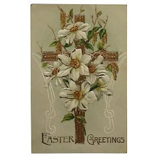 Golden Cross And Easter Lilies Postcard