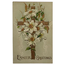 Golden Cross And Easter Lilies Postcard