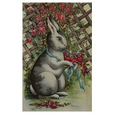 Big White Easter Bunny With Flowers Postcard