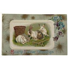 Bunnies Munching Grass Easter Postcard