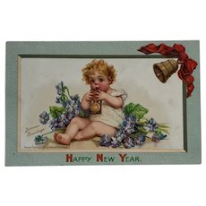 New Year's Baby With Hour Glass- signed Brundage Postcard