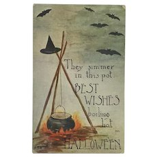 Halloween Witches' Boiling Pot Postcard