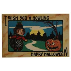 Little Witch Wishes For A Howling Halloween Postcard