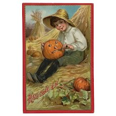 Farm Boy Carving  A  Jack O' Lantern- Unsigned Brundage