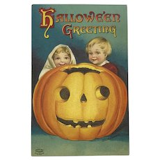 Halloween Kids Peeking Above Jack- O-Lantern- Signed Clapsaddle