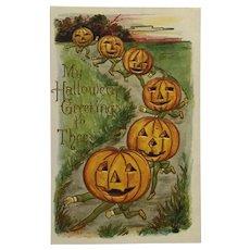 March Of The Halloween Jack-O-Lanterns Postcard