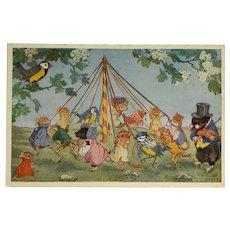 The Maypole- Molly Brett Forest Fantasy Postcard