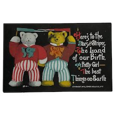 Tower Teddy Bears With Patriotic Spirit Postcard