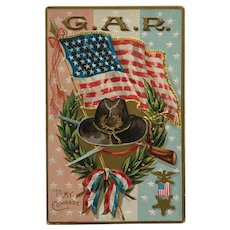 GAR Memorial Day Flag And Wreath Postcard