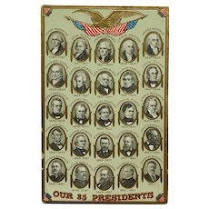 Our Twenty Five Presidents With Gold Eagle Postcard