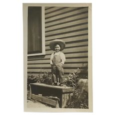 RPPC- Little Boy In Overalls And Straw Hat