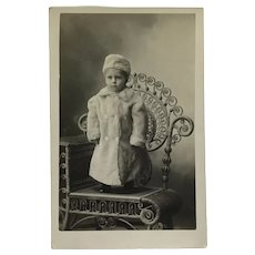 RPPC Little Boy In Big Winter Coat