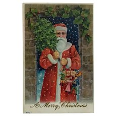 Santa Claus With Tree And Handful Of Toys Postcard