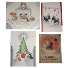 Lot Of 4 Vintage Scotty Christmas Greetings