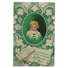 Baby Irish With Lace And Green Ribbons -Unsigned Clapsaddle Postcard