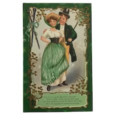 Irish Couple Dreaming Of Ireland- St. Patrick's Postcard