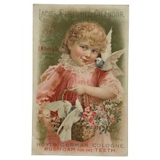 Hoyt's Rubifoam Tradecard - Calendar Card With Girl And Birds- 1894