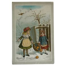 New Year's Victorian Trade Card With Children- 1886