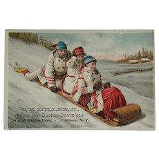 Toboggan Goods Trade Card With Family Riding Toboggan