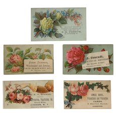 Lot Of 5 Floral Tradecards-Watchmaker and Jeweler, Practical Dentist, Dry Goods. Fine Groceries, Holiday Gentlemen's Wear And Valentines