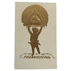 Golden Thanksgiving Celebration Airbrushed Postcard