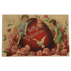 Two Sweet Cupid's And One Big Valentine's Day Heart Postcard