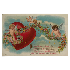 Cupid's Helpers With Heart And Flower Garland