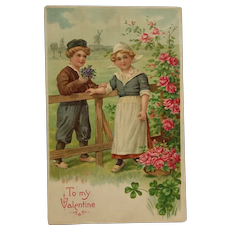 Little Dutch Boy And Girl On Valentine's Day Postcard