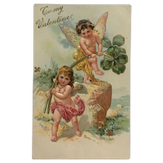 Fairy -Cupid's With Shamrock Postcard
