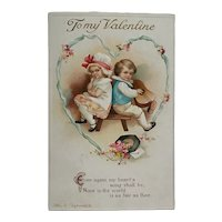 Childhood Sweethearts On Valentine's Day - Signed Clapsaddle Postcard