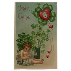 Sleepy Cupid With Champagne Bottle Valentine's Day Postcard