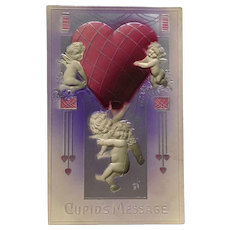 Little Cupids Lift Large Heart Airbrushed Valentine Postcard