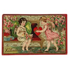 Cupids' Gifts Of Heart And Flowers