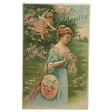 Cupid Aims At Lovely Girl- Undivided Back Postcard