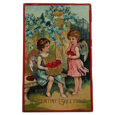 Cupids Collecting A Basket Of Hearts Gel Postcard