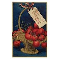 Washington's Birthday Cherries Postcard-Signed Clapsaddle
